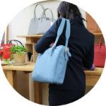【お客様から】アクアブルーのビジネスバッグ【ワープロラックスカーフ】